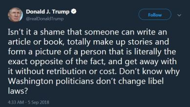 Trump Tweet - Woodward Book - 2018-09-05